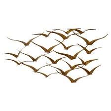 Beautiful Patterned Metal Flocking Birds Wall Decor