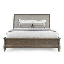 Belgian Oak Upholstered Panel Headboard and Footboard and Rails by Bernhardt