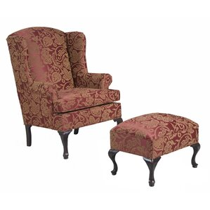 damask wing back chair and ottoman