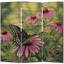 55 x 55 Black Swallowtail Butterfly 3 Panel Room Divider by WGI-GALLERY