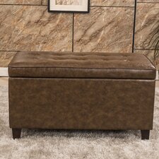 Classic Tufted Waxed Texture Storage Ottoman by Bellasario Collection