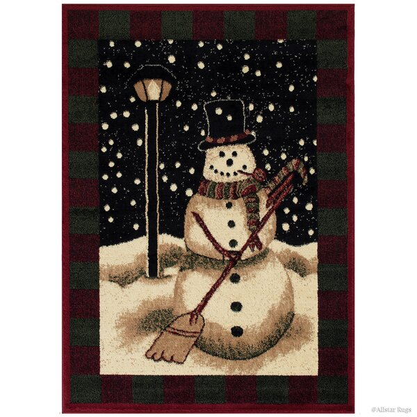 Holiday Christmas Snowman High Quality Woven Green Area Rug by The Holiday Aisle