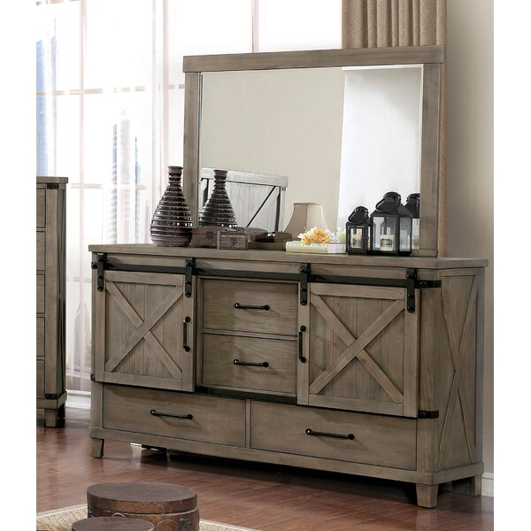 Brodnax 4 Drawer Combo Dresser with Mirror by Three Posts