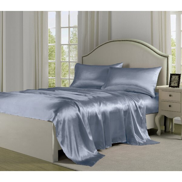 4 Piece 280 Thread Count Satin Sheet Set by Fresh Ideas