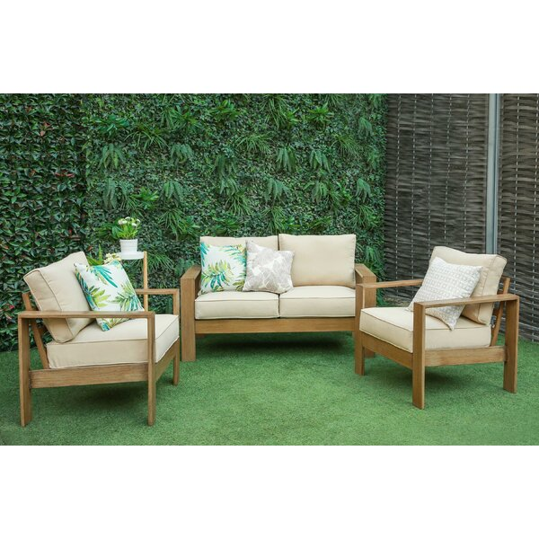 Amaya 3 Piece Sofa Seating Group with Cushions by Longshore Tides