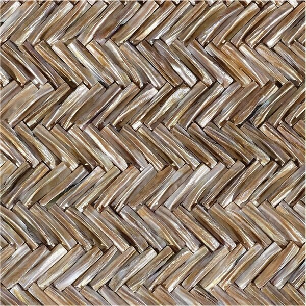 12 x 12 Authentic SeaShell Tile Seamless Chevron 3D Mosaic Panel in Mussel Mother of Pearl by Matrix-Z