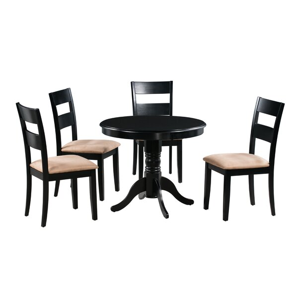 Jordyn 5 Piece Drop Leaf Solid Wood Dining Set by Alcott Hill
