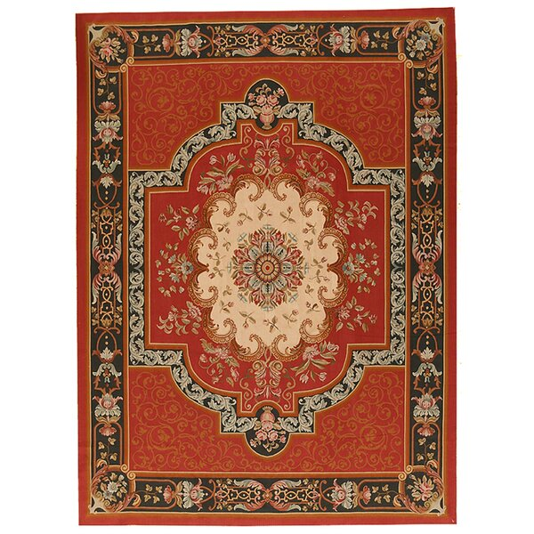 One-of-a-Kind Aubusson Hand-Woven Wool Red/Beige/Black Area Rug by Pasargad
