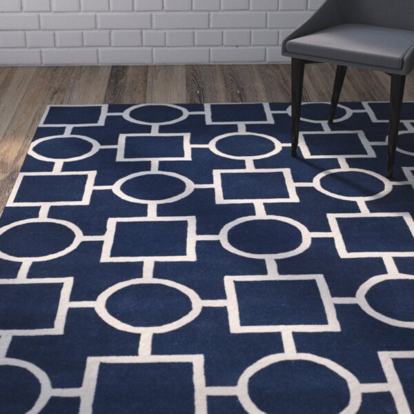 Wilkin Hand-Tufted Wool Blue/Ivory Rug by Wrought Studio