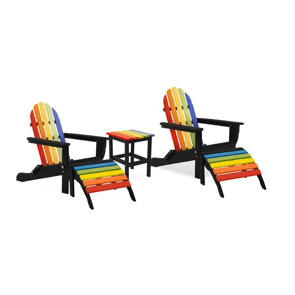 Pares Plastic Folding Adirondack Chair with Ottoman and Table by August Grove August Grove