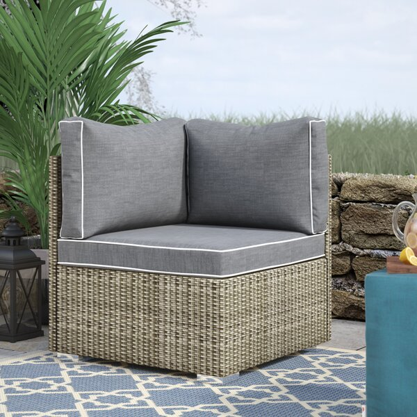 Heinrich Outdoor Corner Patio Chair with Cushion by Highland Dunes