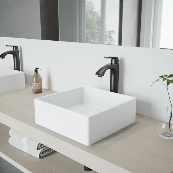 Matte Stone White Square Vessel Bathroom Sink with Faucet