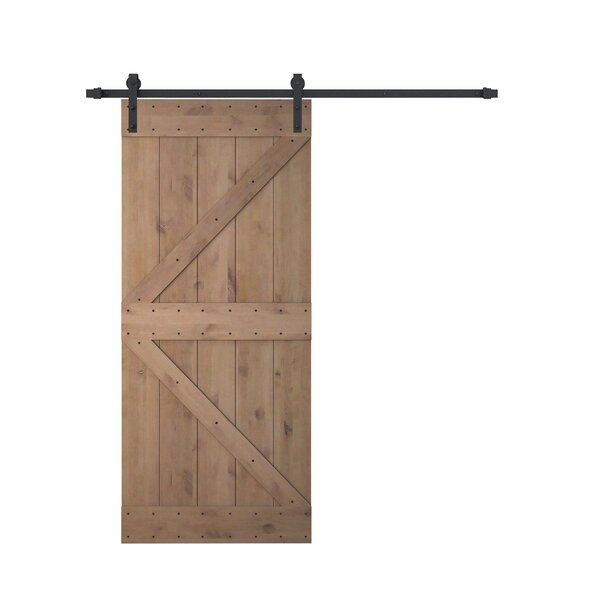 Knotty Solid Wood Panelled Alder Slab Interior Barn Door by Calhome