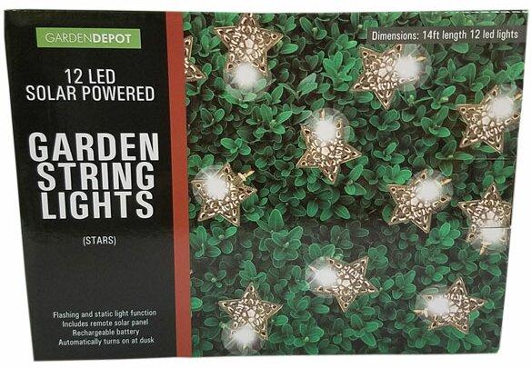 Solar Powered Garden Stars 12 Light Novelty String Lights by Penn Distributing