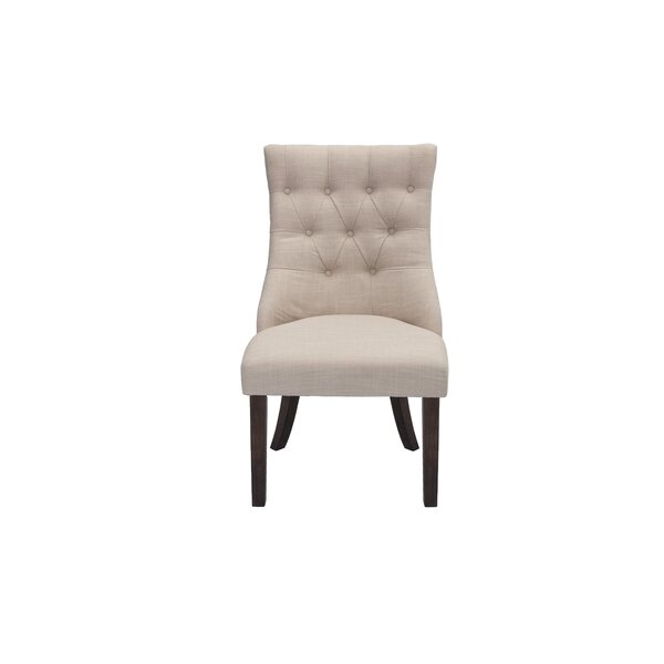 Toledo Tufted Linen Upholstered Side Chair in Beige by One Allium Way One Allium Way