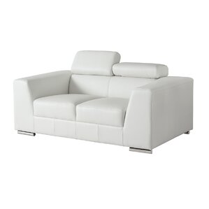 Cesca Leather Loveseat. Black Grey White