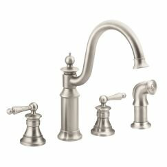 Waterhill Double Handle Kitchen Faucet with Side Spray and Duralock™ by Moen