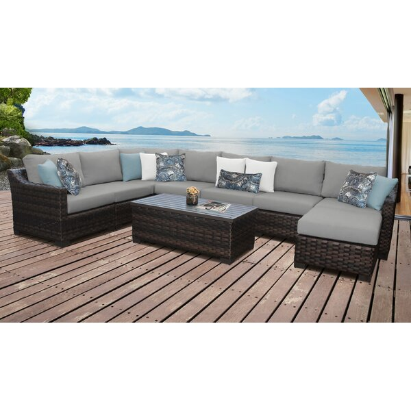River Brook 9 Piece Outdoor Wicker Patio Furniture Set 09d by kathy ireland Homes & Gardens by TK Classics