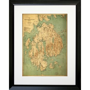 Map of Mount Desert Island, Maine Framed Graphic Art by Buy Art For Less