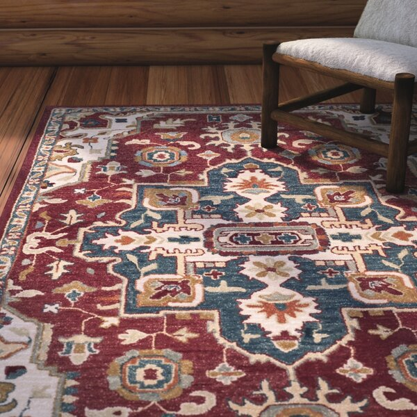 Bobigny Hand-Tufted Red/Blue Area Rug by Loon Peak