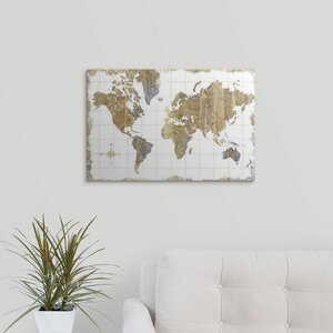 'Gilded Map' Graphic Art on Wrapped Canvas by Great Big Canvas