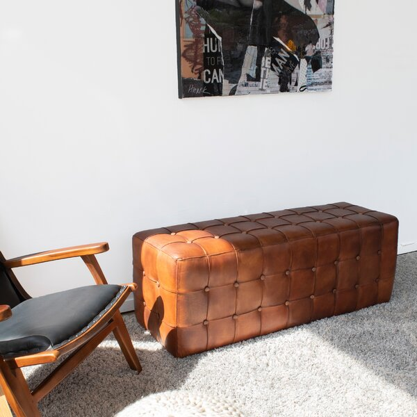 Free S&H Guidi Chester Leather Tufted Ottoman