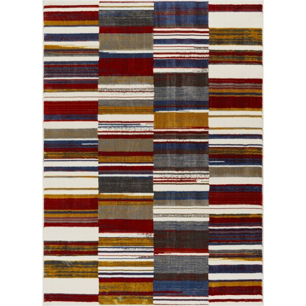 Herren Geometric Squares Red/Navy Area Rug by Ebern Designs