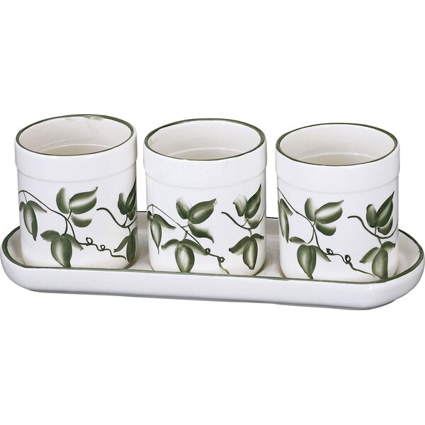 3 Piece Ceramic Pot Planter Set by AA Importing