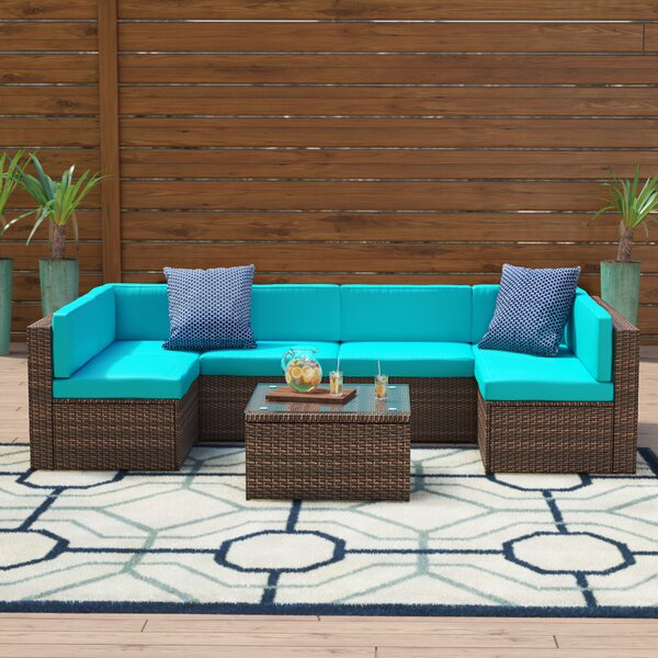 Shelbie 7 Piece Rattan Sectional Seating Group With Cushions By Zipcode Design