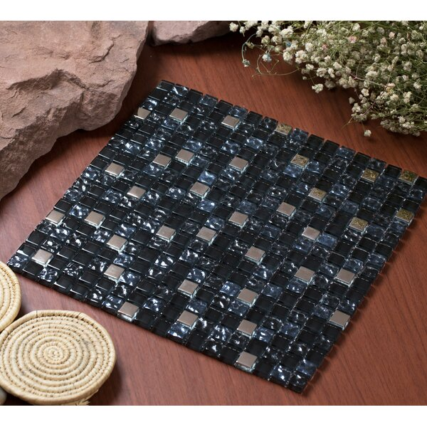 Mesh Pess 12 x 12 Glass/Stone Mosaic Tile in Black/Silver by Mirrella