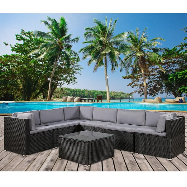 3 Piece Rattan Sectional Seating Group with Cushions by Latitude Run