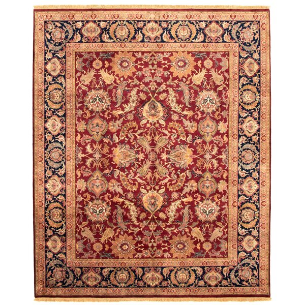 Gouveia Hand Knotted Wool Dark Red Rug