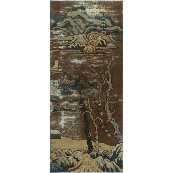One-of-a-Kind Millay Nikel Hand-Knotted Wool Brown Are Rug by Bloomsbury Market