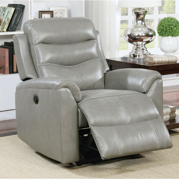 Tincher Motion Genuine Leather Power Recliner by L