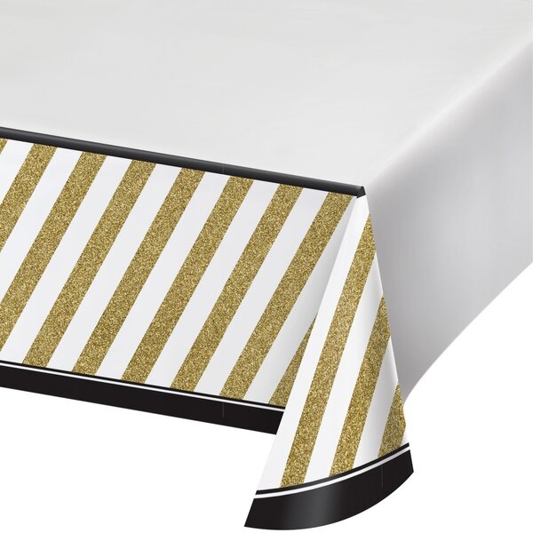 Black and Gold Plastic Tablecover by Creative Converting
