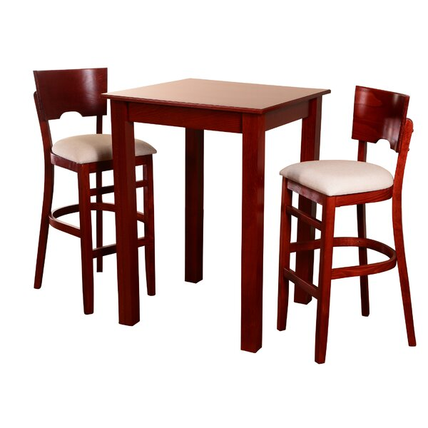 Eaddy Upholstered 3 Piece Pub Table Set by Darby Home Co