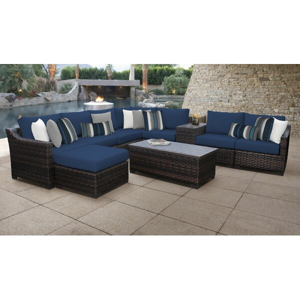 River Brook 10 Piece Wicker Sectional Seating Group with Cushions by kathy ireland Homes & Gardens by TK Classics