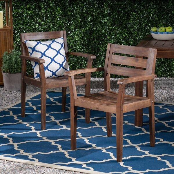 Ainsley Outdoor Rustic Patio Dining Chair (Set of 2) by Union Rustic Union Rustic
