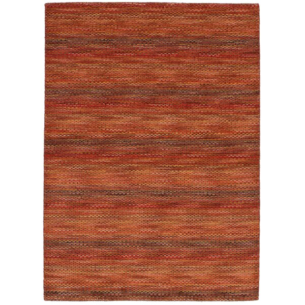 Eustis Hand-Knotted Wool Red Area Rug by Breakwater Bay