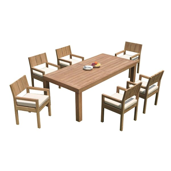 Deonte 7 Piece Teak Dining Set by Rosecliff Heights