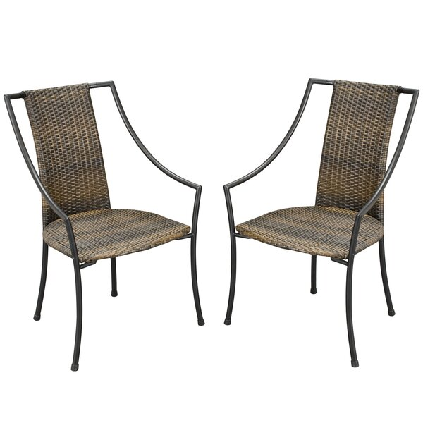Sessums Slope Patio Dining Chair with Cushion (Set of 2) by Bloomsbury Market