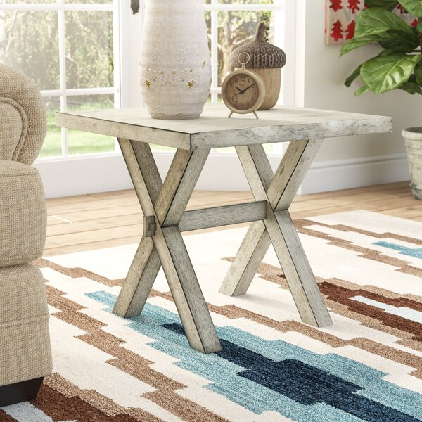Southa Live Edge Solid Wood Cross Legs End Table By Union Rustic