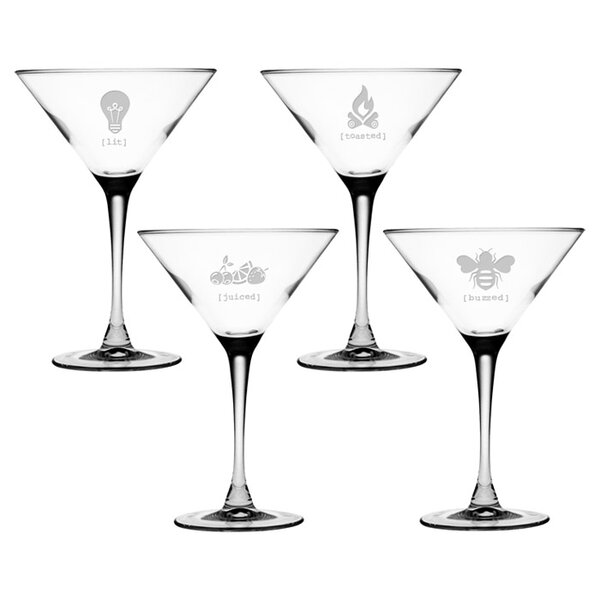 Tipsy Assortment Martini Glass by Susquehanna Glass