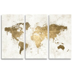 Pictures of maps wayfair mapamundi white gold triptych painting print on wrapped canvas gumiabroncs Gallery