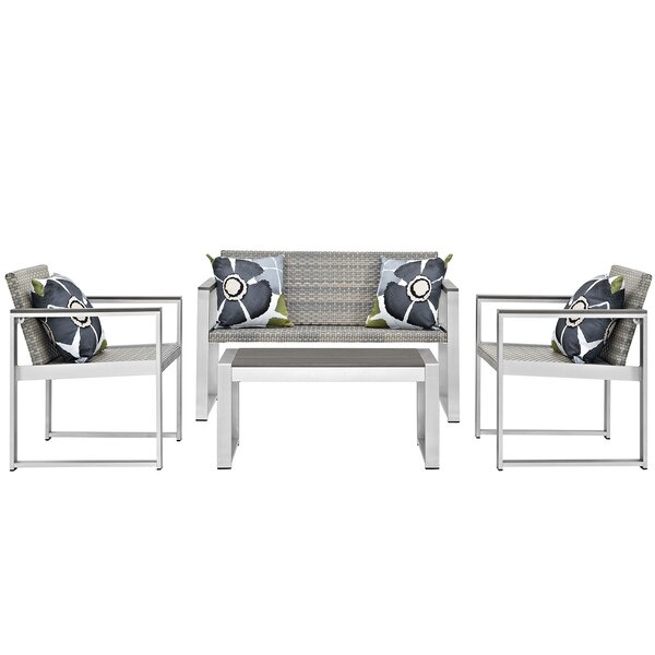 Embark 4 Piece Rattan Sofa Set with Cushions by Modway