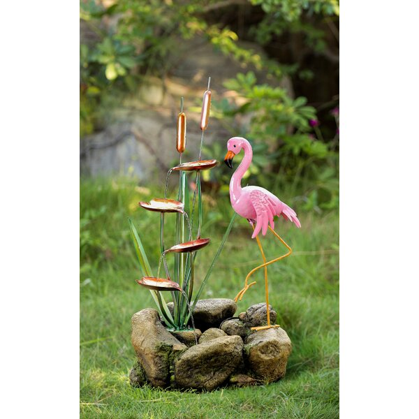 Polyresin/Metal Flamingo and Rock Water Fountain by Jeco Inc.