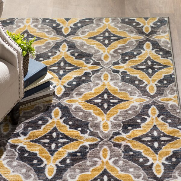 Fairborn Floral Charcoal/Gold Area Rug by Three Posts