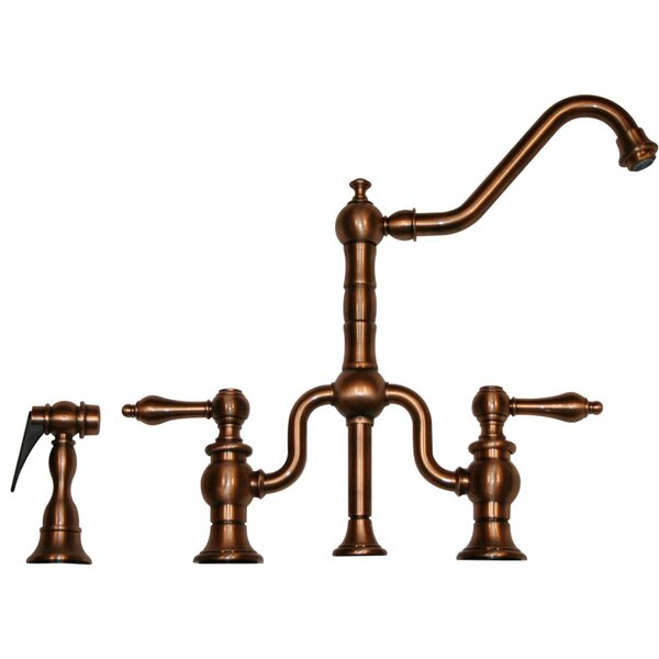 Twisthaus Two Handle Widespread Kitchen Faucet with Long Traditional Swivel Spout Lever Handles and Side Spray by Whitehaus Collection