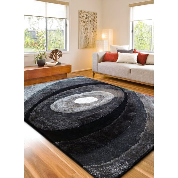 Living Shag Hand-Tufted Black Area Rug by Rug Factory Plus