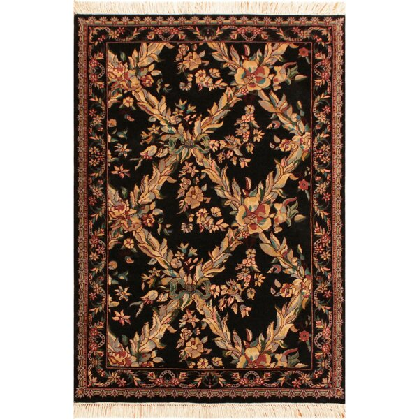 One-of-a-Kind Delron Hand-Knotted Wool Black/Tan Area Rug by Astoria Grand